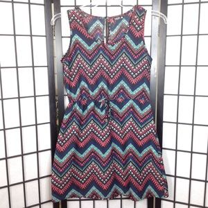 Indulge Fit & Flare Blue Aztec Dress M